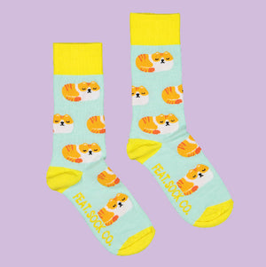 Men's Mint/Yellow Grumpy Cat socks