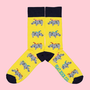 Ladies' Yellow Rhino & Birdy socks