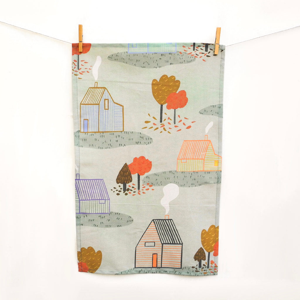 Autumn Cabin Tea Towel