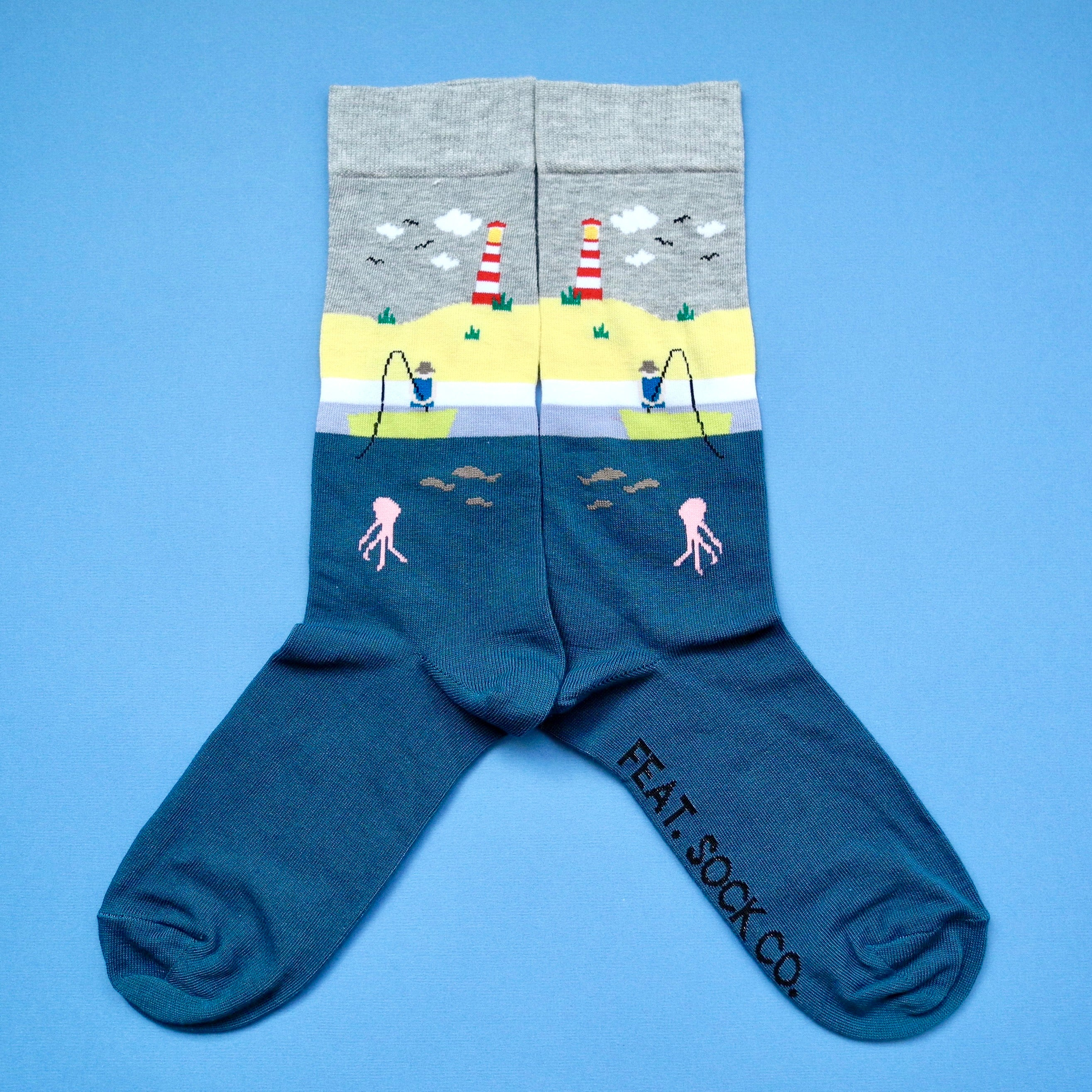 Men's Grey/Teal Fishing socks