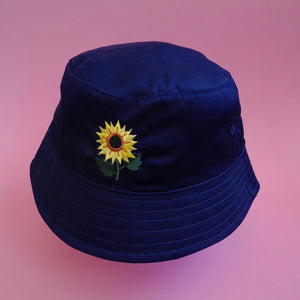 Navy Sunflower Bucket Hat