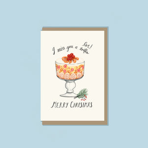 'I Miss You A Trifle' Greeting Card by FEAT. sock co.