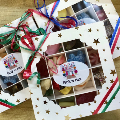 Christmas Pick n Mix white box with Gold Stars