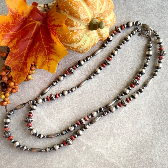 The Rio Puerco Navajo Pearl & Red Spiny Oyster Necklace (36