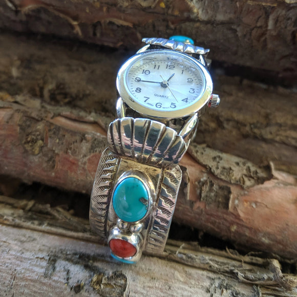 The San Lucas Turquoise & Coral Vintage Watch Band
