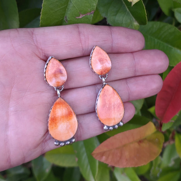 The  Naranja Orange Spiny Oyster Earrings
