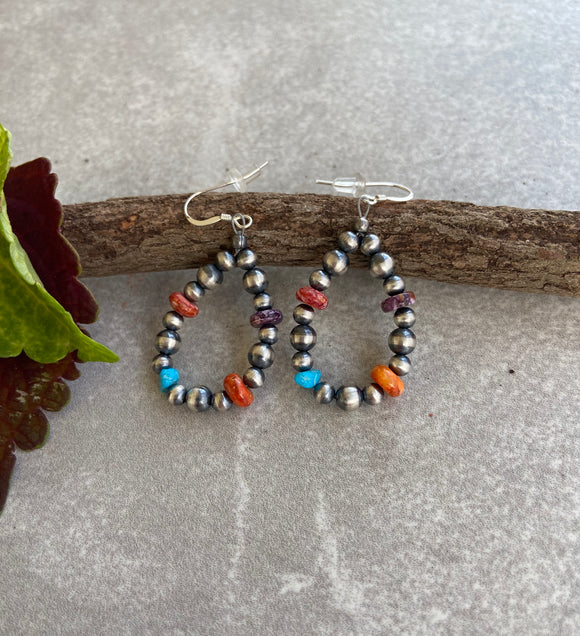 The Waterflow Navajo Pearl Rainbow Hoop Earrings