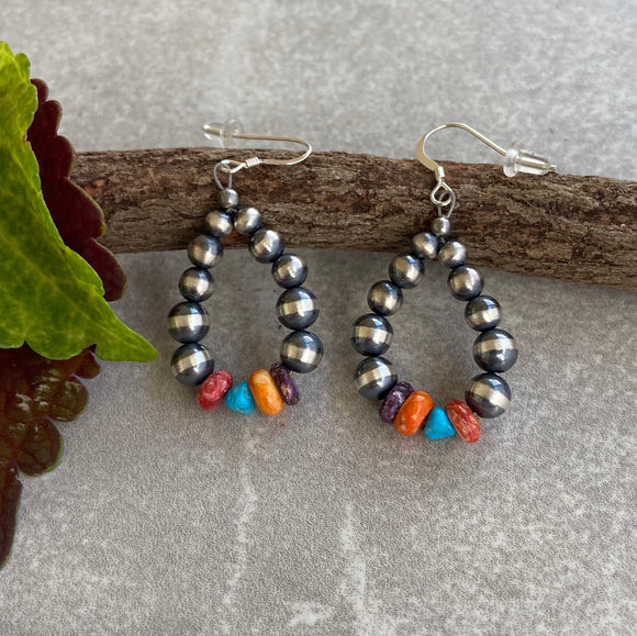 The Shiprock Navajo Pearl Rainbow Hoop Earrings