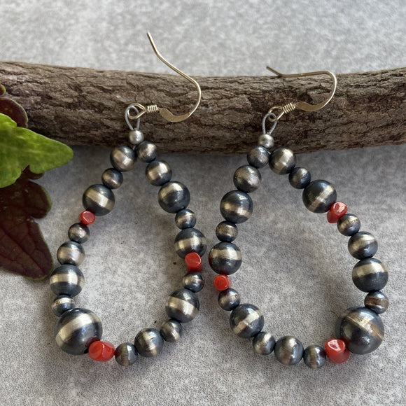 Cedar Hill Navajo Pearl and Red Coral Hoop Earrings