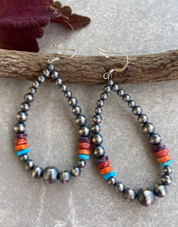 The Archuleta Navajo Pearl Rainbow Hoop Earrings