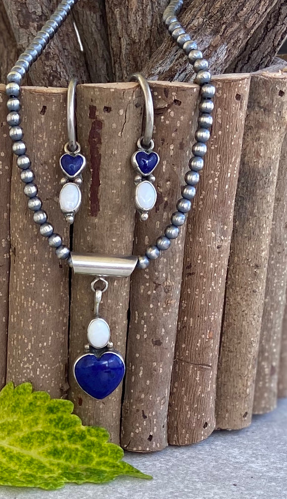The Lapis & Opal Hearts Pendant & Earrings Set