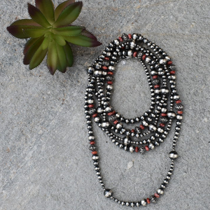 "The Rio Grande Navajo Pearl & Red Spiny Oyster Necklace (72"")"