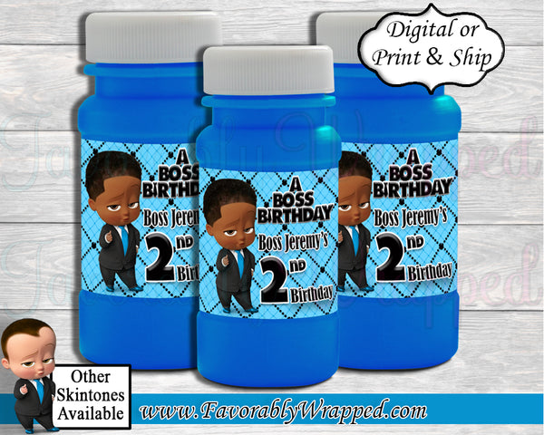 Boss Baby Boy Bubble Bottle Labels-Boss Baby Birthday-Boss Baby Party-Bubble Bottle Labels-Boss Baby Baby Shower-Boss Baby Party Favors