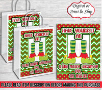 Elfing Merry Christmas Gift Bag-Christmas Gift Bag Labels-Christmas Treat Bag-Christmas Favor Bag-Merry Christmas Gift Bag-Elf Gift Bag