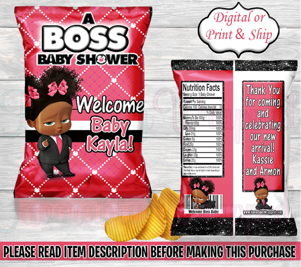 Boss Baby Girl Baby Shower Chip Bag-Boss Baby Shower-Boss Baby Party-Boss Baby-Boss Baby Decoration
