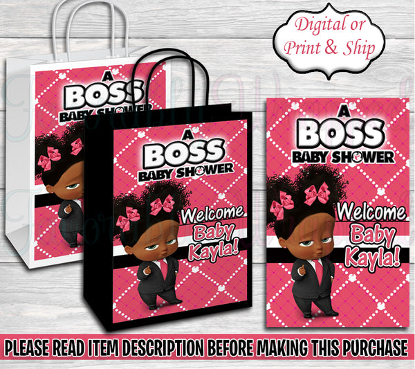 Boss Baby Girl Baby Shower Gift Bag-Boss Baby-Boss Baby Shower-Boss Baby Gift Bag Labels-Boss Baby Clipart