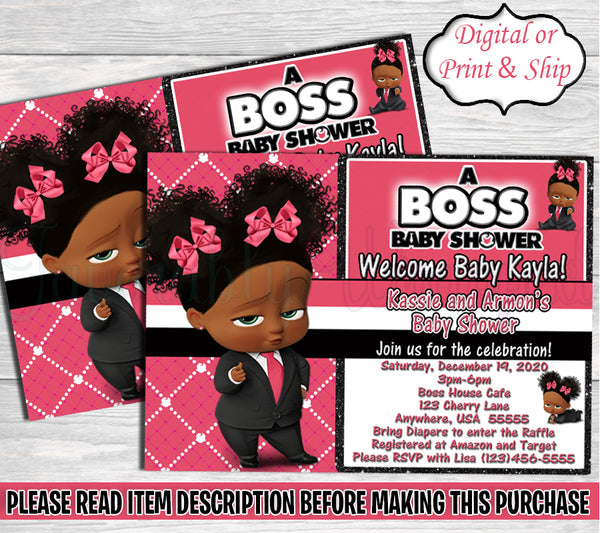 Boss Baby Girl Baby Shower Invitation-Boss Baby-Boss Baby Invitation-Boss Baby Shower