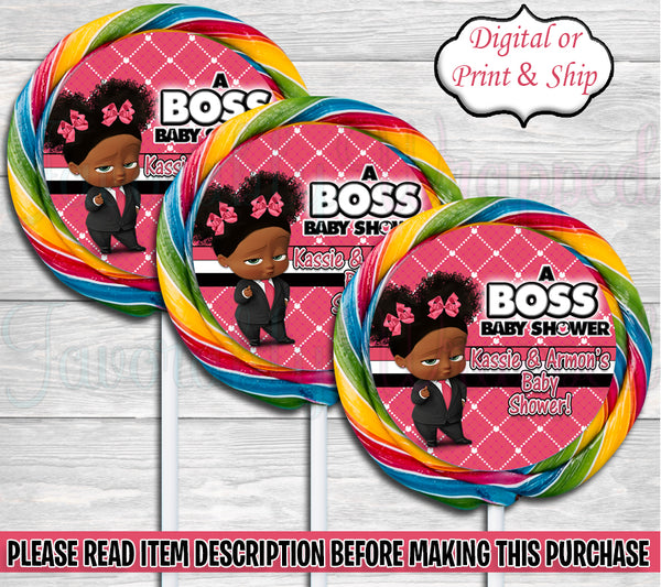 Boss Baby Girl Baby Shower Swirl Pop Labels-Boss Baby-Boss Baby Shower-Lollipop Labels-Boss Baby Clipart