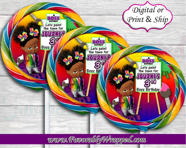 Paint Party Girl Boss Birthday Swirl Pop Labels-Boss Baby-Boss Baby Birthday-Boss Birthday Party-Boss Party-Boss Baby Lollipop Labels-Boss Baby Clipart-Art Party