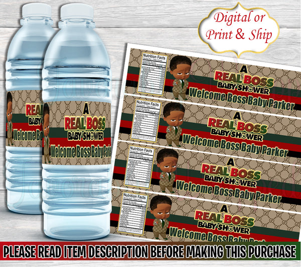 Gucci Inspired Boss Baby Shower Water Bottle Labels-Boss Baby Water Label-Gucci Boss Baby Party Favors-Gucci Boss Baby