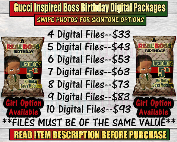 Gucci Inspired Boss Baby Birthday-Digital Packages-Custom Digital Package-Chip Bag-Rice Krispie Treat-Capri Sun-Water Label-Candy Wrapper-You Print Only-Digital Printables