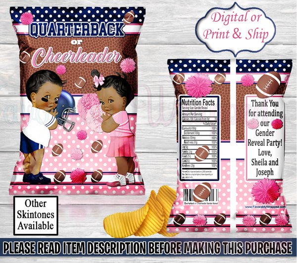 Quarterback or Cheerleader Tutus Chip Bag-Touchdowns or Tutus Chip Bag-Touchdowns or Tutus Decorations-Touchdowns or Tutus Gender Reveal