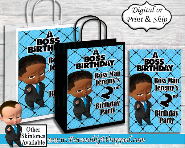 Boss Baby Boy Birthday Gift Bag-Boss Baby-Boss Baby Birthday-Boss Baby Gift Bag Label