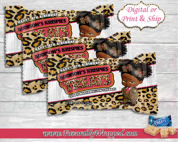 Cheetah Boss Baby Birthday Rice Krispies Treat Wrappers-Boss Baby-Boss Baby Birthday-Boss Birthday Party-Boss Party-Boss Birthday-Boss Baby Clipart-Leopard Boss Baby Rice Krispies Treats