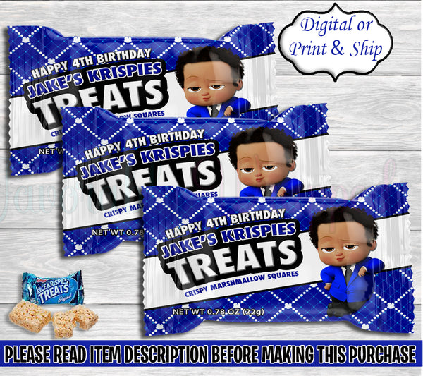 Boss Baby Boy Rice Krispies Treats Wrappers-Boss Baby Birthday-Boss Baby Party