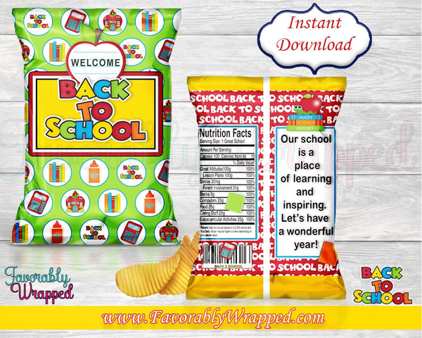 Back To School Chip Bags-Teacher-Students-Back To School-Favor Bag-Candy Bag-Chip Bag-Digital-Instant Download-First Day of School