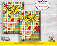 Back to School Popping Candy Wrappers-Pop Rock Wrappers-Welcome Back to School-Student gifts-School Rocks Wrapper-School Rocks Decor-Digital