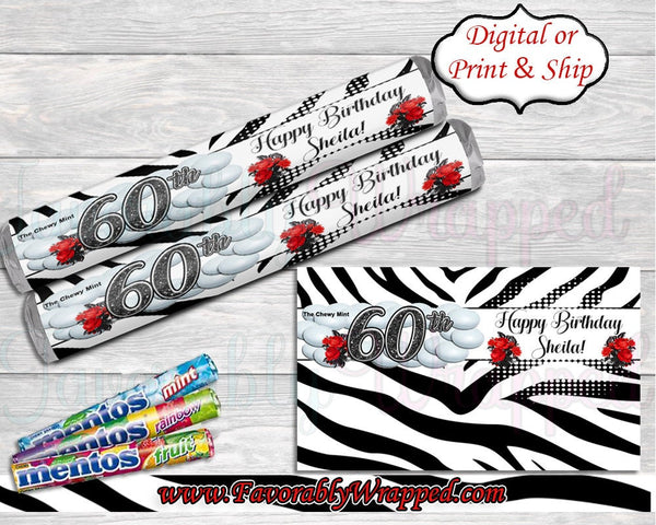 Zebra Print Birthday Mentos Wrappers-Animal Print Decor-Cigar Wrapper-Mentos Wrapper-21st Birthday-Black and White Decoration-40th Birthday
