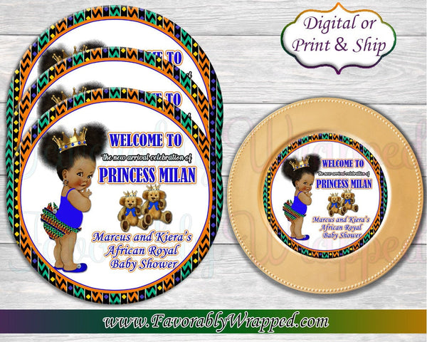 Royal Princess Baby Shower Charger Insert-Baby Shower Charger Insert-Safari Baby Shower-Kente Baby Shower-African Baby Shower