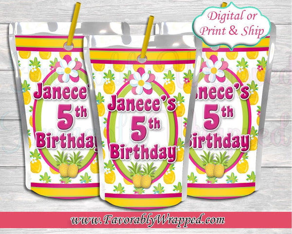 Pineapple Juice Labels-Hawaiian Juice Labels-Luau Party-Aloha Party-Luau Birthday-Hawaiian Birthday Party-Tropical Birthday-Tropical Party