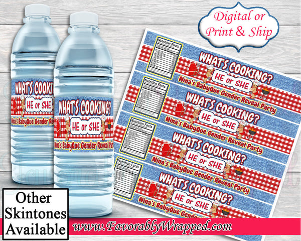 BabyQue Gender Reveal Water Label-BBQ Baby Shower-BabyQue Baby Shower-Baby-Q-BabyQue Water Label-Chip Bag-Favor Bags-Barbeque-Water Labels