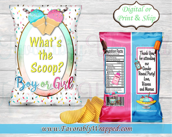 What's the Scoop Gender Reveal Chip Bags-Gender Reveal Party-Ice Cream Party-Ice Cream Favor Bags-Whats the scoop Baby Shower