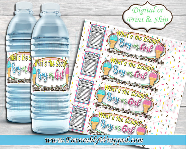 What's the Scoop Gender Reveal Water Bottle Labels-Gender Reveal Party-Ice Cream Party-Ice Cream Water Labels-What's the scoop Baby Shower