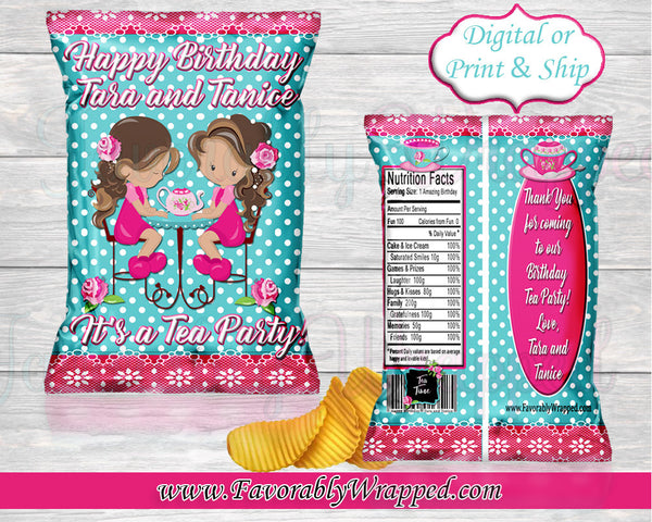 Tea Party Birthday Chip Bag- Chip Bag -Twins Chip Bag Labels-Tea Party Clipart-Girls Tea Chip Bag-Tea Party Birthday-Tea Party Baby Shower