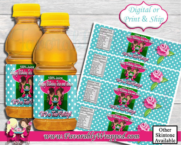 Tea Party Mini Apple Juice Labels-Apple Juice Label-Tea Party Clipart-Tea Party Chip Bag-Tea Party Birthday-Tea Party Baby Shower