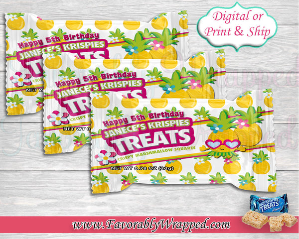 Pineapple Rice Krispie Treat Wrapper-Hawaiian Rice Krispie-Luau Party-Aloha Party-Luau Birthday-Hawaiian Birthday Party-Tropical Birthday