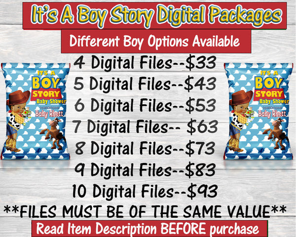 It's A Boy Digital Packages-Toy Story Digital Package-Chip Bag-Rice Krispie Treat-Capri Sun-Water Label-You Print Only-Digital Printables