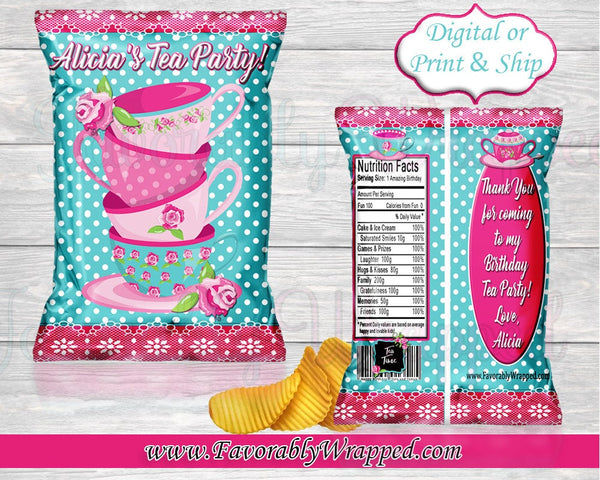 Tea Party Birthday Chip Bag-Chip Bag-Tea Party Chip Bag Label-Tea Party Clipart-Girls Tea Chip Bag-Tea Party Birthday-Tea Party Baby Shower