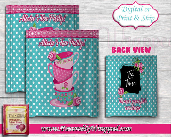 Tea Party Tea Bag Wrapper-Tea Bag Wrapper -Tea Party Clipart-Girls Tea Chip Bag-Tea Party Birthday-Tea Party Baby Shower-Tea Party Chip Bag