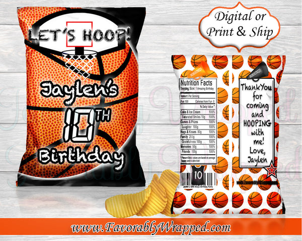 Basketball Chip Bag-Basketball Birthday Chip Bag-Basketball Birthday-Basketball Party-Basketball Treat Bag-Basketball-Basketball Baby Shower
