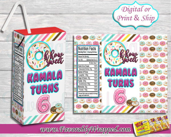 Donut Hi-C Juice Box Labels-Donut Birthday-Donut Party-Juice Labels-Hi-C Juice Labels-Donut Treat Bag-Chip Bag Labels-Donut Party Favors