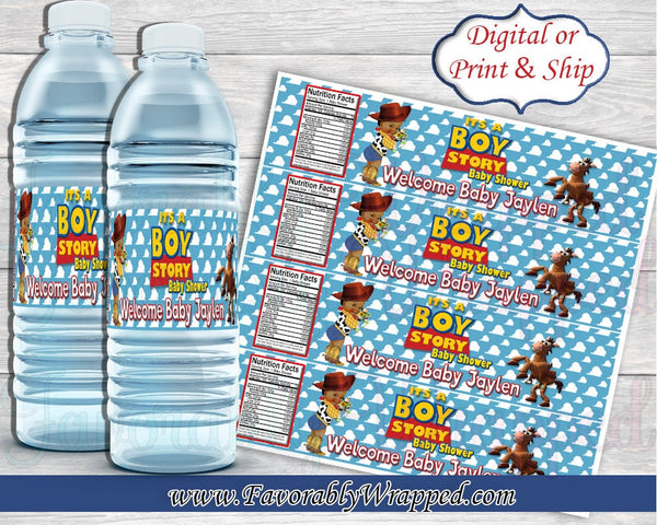 Girl inserts bottle It S A Story Baby Shower Water Bottle Labels Toy Story Water Label Toy Favorably Wrapped