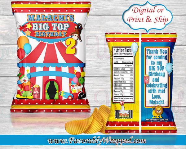 Circus Chip Bag-Carnival Chip Bag-Carnival Birthday-Circus Party-Circus Birthday-Chip Bag-Circus Favor Bag-Carnival Treat Bag-Circus