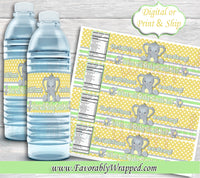 Elephant Water Label-Our Little Peanut Baby Shower-Elephant Gender Reveal-Elephant Baby Shower-It's a Boy-Its a Girl-Water Labels