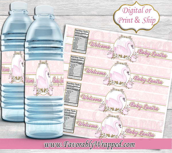Girl inserts bottle Swan Baby Shower Water Bottle Labels Swan Water Label Swan Baby Shower Favorably Wrapped