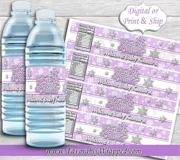 Baby Its Cold Outside Water Label-Baby Its Cold Outside Baby Shower-Snowflake Water Label-Water Label-oh Baby Its Cold Outside water label